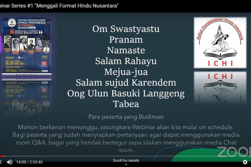 "ICHI Webinar Series #1: ""Menggali Format Hindu Nusantara"""